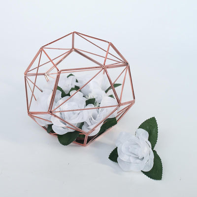 "7"" Rose Gold Metal Geometric Candle Holder Centerpiece 