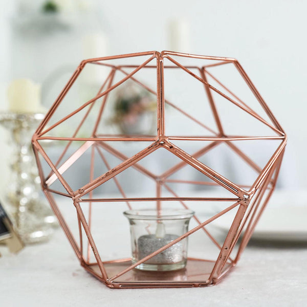 "7"" Rose Gold Geometric Candle Holder 