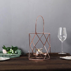 "12"" Rose Gold Metal Hanging Geometric Candle Holders 