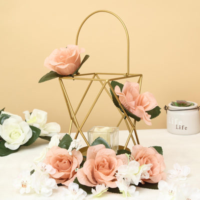 "12"" Gold Metal Hanging Geometric Candle Holders 