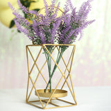 "12"" Gold Metal Geometric Candle Holders 