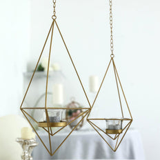 Set of 2 | Gold Metal Geometric Floral Holders | Hanging Tealight Candle Holder | 12"