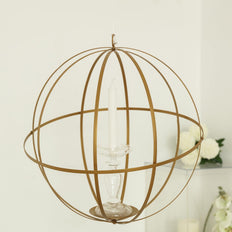 "12"" Gold Wrought Iron Folding Ball Floral Sphere 