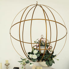 "19"" Gold Foldable Metal Globe Ring Hanging Candle Holder 