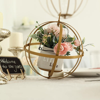 "24"" Gold Wrought Iron Folding Ball Floral Sphere 