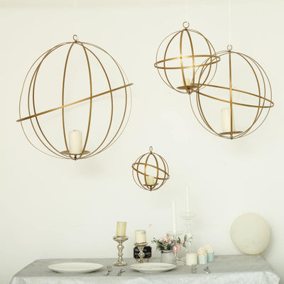 "25"" Gold Foldable Metal Globe Ring Hanging Candle Holder 