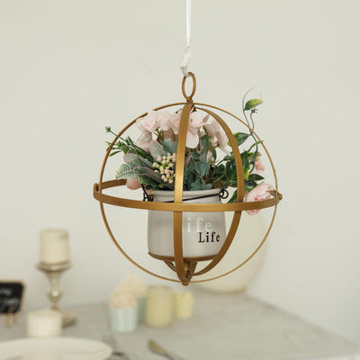 "8"" Gold Wrought Iron Folding Ball Floral Sphere 