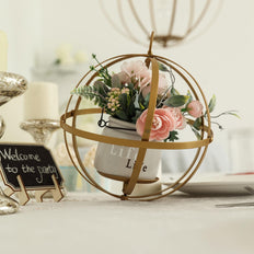 "9"" Gold Foldable Metal Globe Ring Hanging Candle Holder 