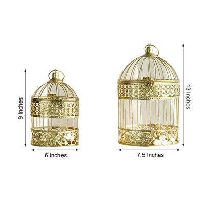 "Set of 2 | 9"" and 13"" Metallic Gold Bird Cage Card Holders"
