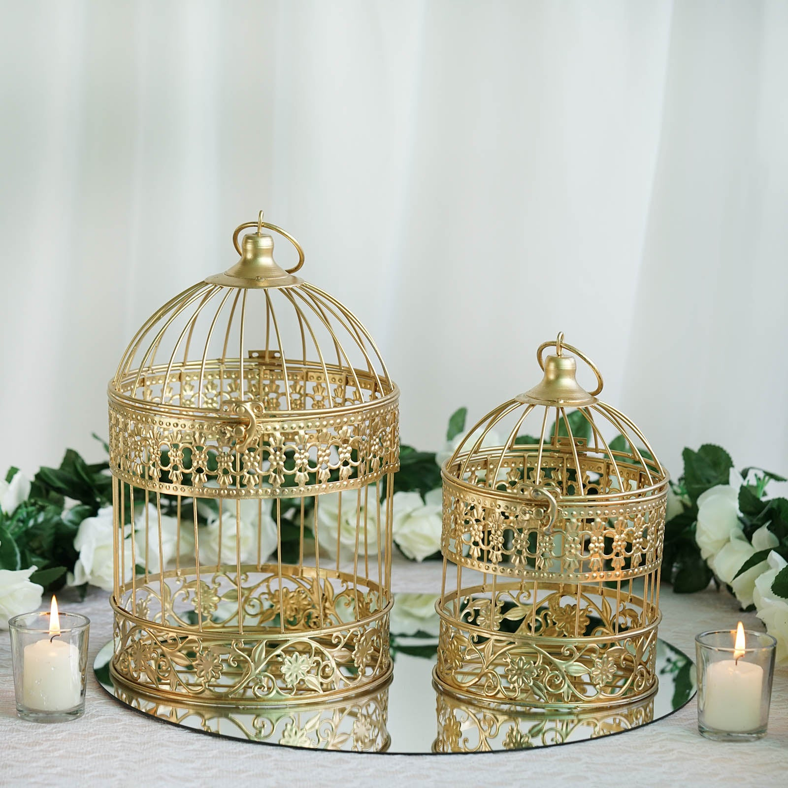 2 Sets Of Large Metallic Gold Bird Cage Wedding Card Holder ...
