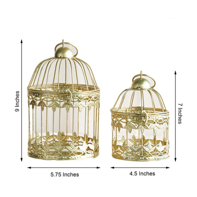 "Set of 2 | 7"" and 9"" Metallic Gold Bird Cage Card Holders"