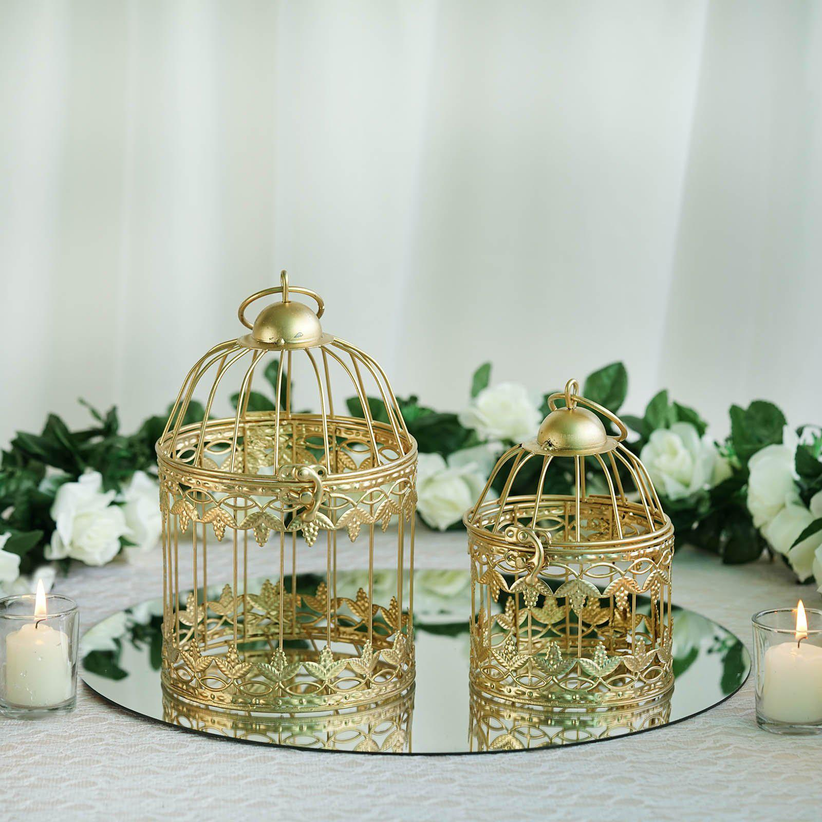 Sets of metallic gold bird cage wedding card holder