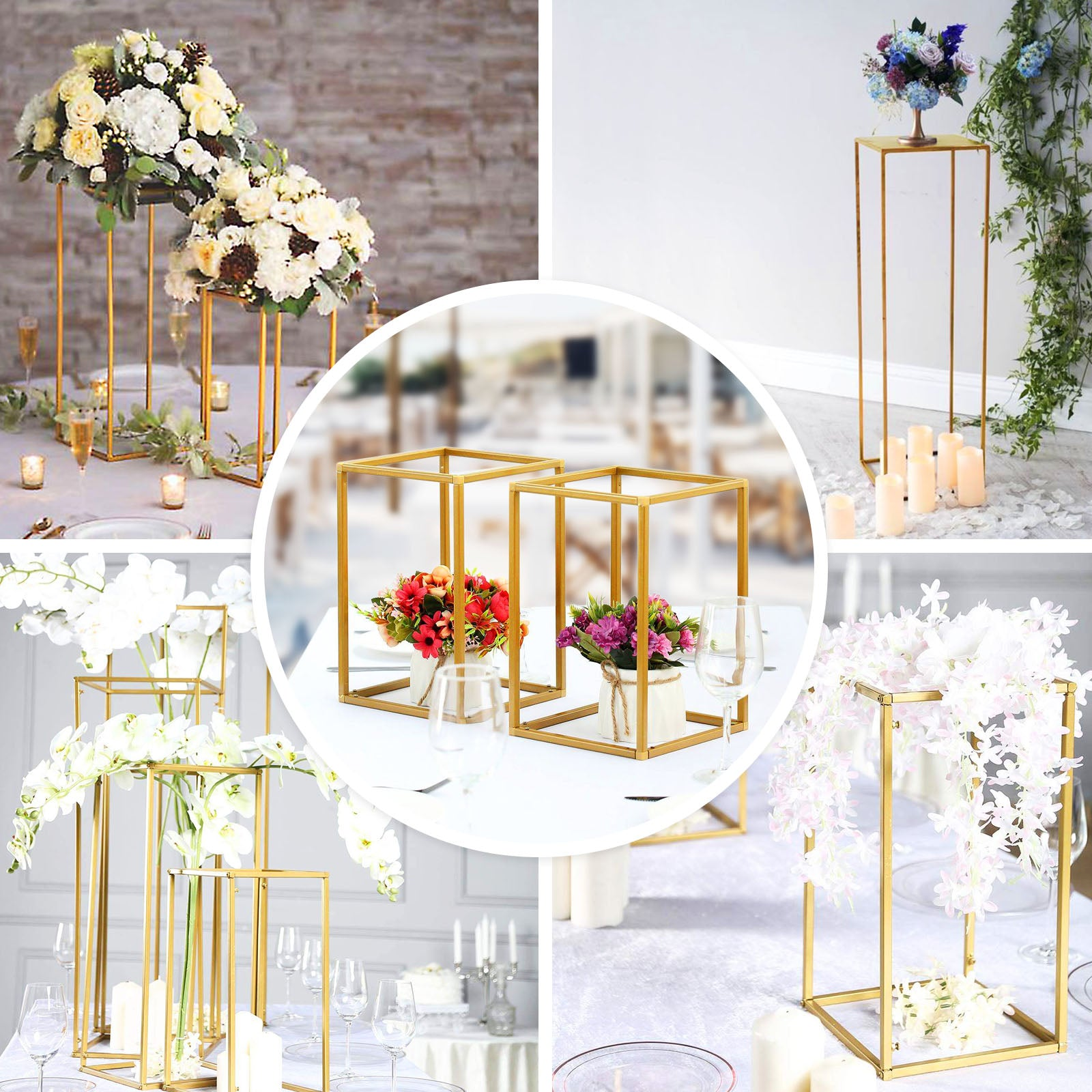 Wedding Flower Stand Metal Vase Column Stand Geometric Centerpiece Vase Geometric Centerpiece Vase Tableclothsfactory