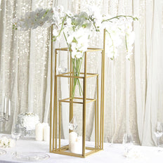 Set of 4 | Matte Gold Wedding Flower Stand | Metal Vase Column Stand | Geometric Centerpiece Vase | 16"
