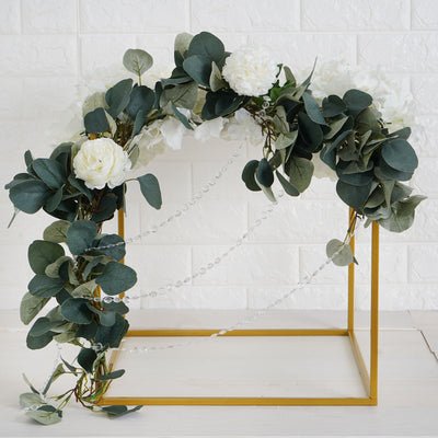 "2 Pack | 16"" Square Gold Metal Wedding Flower Stand 