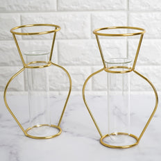 Set of 2 | 8 inch Gold Geometric Metal Flower Vase | Test Tube Vase