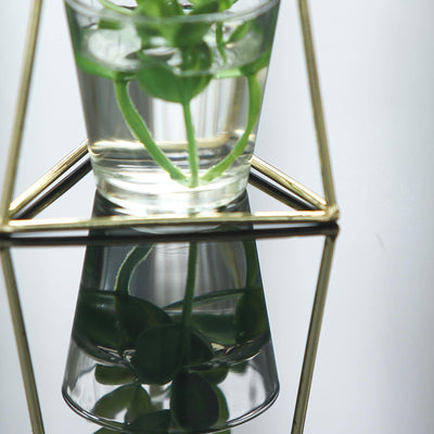 "2 Pack | 6"" Geometric Metal Flower Vase Racks Plant Holders 