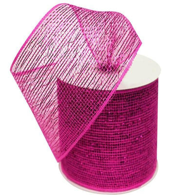 "What a MESH! 4"" x 25yards Shiny Ribbons Fushia"