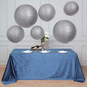 Set of 6 | Silver Assorted Chinese Lanterns | Hanging Paper Lanterns With Metal Frame | 16"