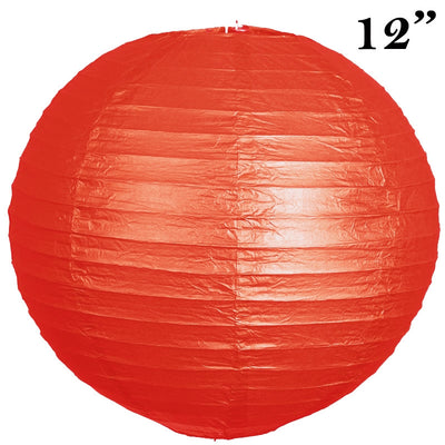 "12"" Paper Chinese Lantern Lamp Shade Hanging Party Event Decor Set - Red - 12 PCS"