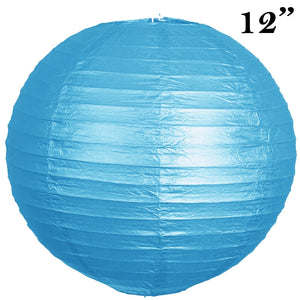 "12"" Paper Chinese Lantern Lamp Shade Hanging Party Event Decor Set - Turquoise - 12 PCS"