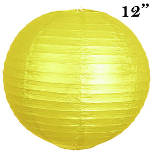 "12"" Paper Chinese Lantern Lamp Shade Hanging Party Event Decor Set - Yellow - 12 PCS"
