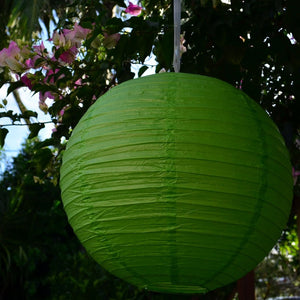 "12 Pack | 16"" Lime Green Round Chinese Paper Lanterns"