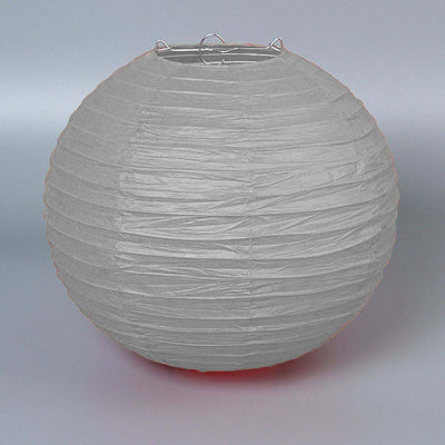 "12 Pack | 20"" Silver Round Chinese Paper Lanterns"