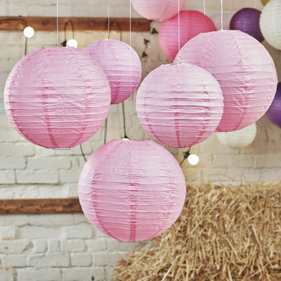 "12 Pack 24"" Pink Round Even Ribbing Paper Chinese Lantern Hanging Decoration"