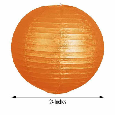 "12 Pack | 24"" Orange Round Chinese Paper Lanterns - Clearance SALE"