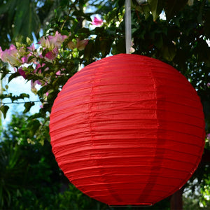 "12 Pack | 16"" Red Round Chinese Paper Lanterns"