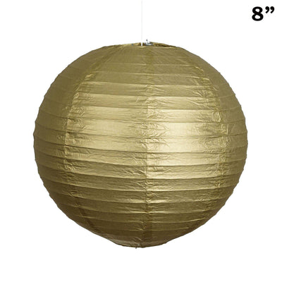"8"" Paper Chinese Lantern Lamp Shade Hanging Party Event Decor Set - Gold - 12 PCS"