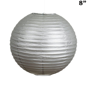 "8"" Paper Chinese Lantern Lamp Shade Hanging Party Event Decor Set - Silver - 12 PCS"