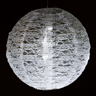 Luxurious Floral Lace Lanterns - White- 6 PCS