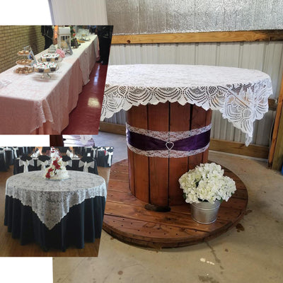 "54"" x 54"" White JOLLY GOOD Lace Table Overlay"
