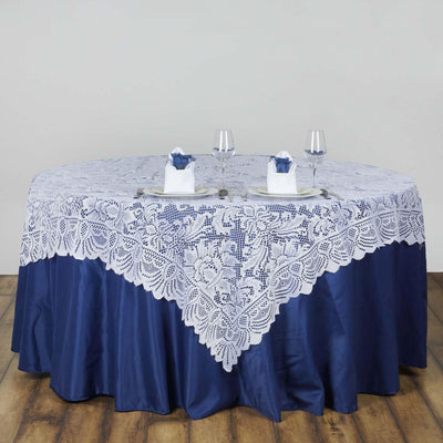"54""x54"" Wholesale Flower Design LACE Overlay For Wedding Event Catering Party Decoration - WHITE"