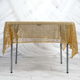 "60"" x 60"" Gold Duchess Sequin Square Overlay"