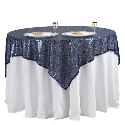 "60"" x 60"" Navy Blue Duchess Sequin Square Overlay"