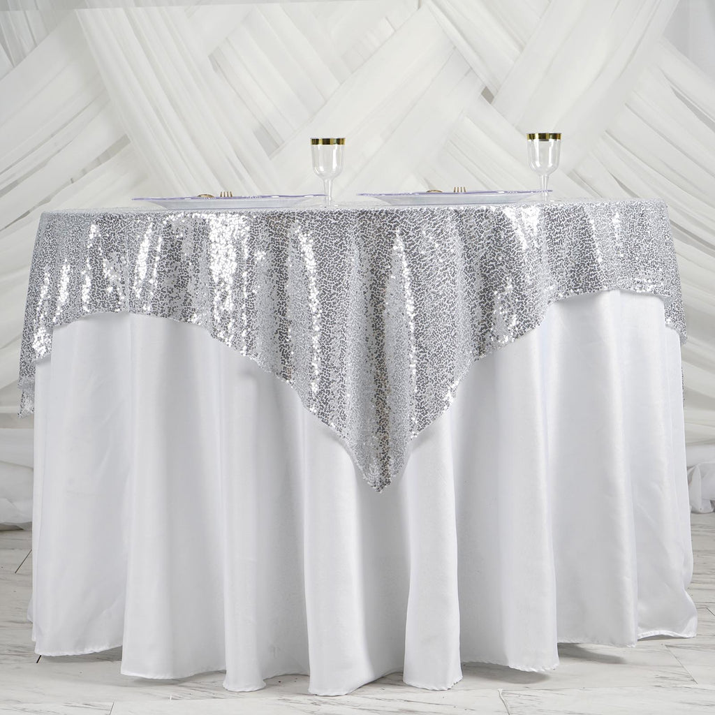 60 Quot X 60 Quot Grand Duchess Sequin Table Overlays Silver