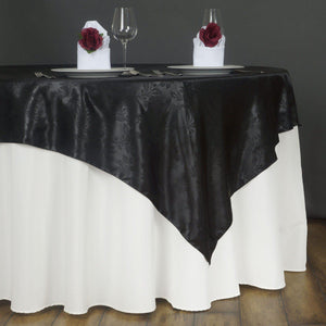 "60"" Lily Embossed SATIN Square Overlay For Wedding Catering Party Table Decorations- BLACK"