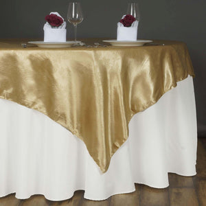 60'' | Champagne Square Overlay | Lily Embossed Satin Table Overlays