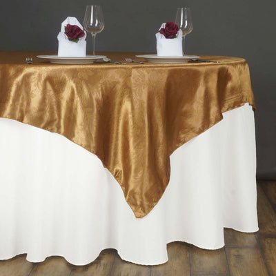 "60"" Lily Embossed SATIN Square Overlay For Wedding Catering Party Table Decorations- GOLD"