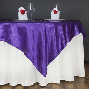 "60"" Lily Embossed SATIN Square Overlay For Wedding Catering Party Table Decorations- PURPLE"