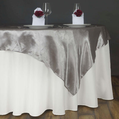 60'' | Silver Square Overlay | Lily Embossed Satin Table Overlays