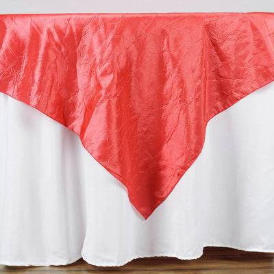 "60""x60"" Square Coral Crinkle Crushed Taffeta Table Overlay"