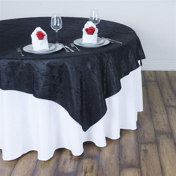 "60""x60"" Square Black Crinkle Crushed Taffeta Table Overlay - Clearance SALE"