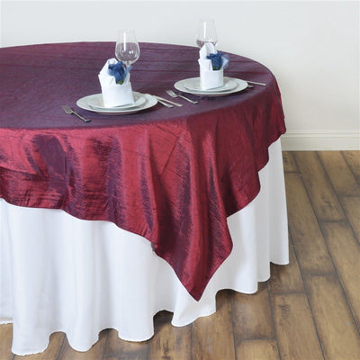 "60""x60"" Square Burgundy Crinkle Crushed Taffeta Table Overlay"