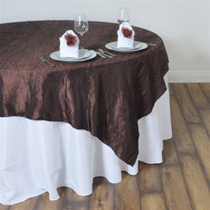 "60""x60"" Square Chocolate Crinkle Crushed Taffeta Table Overlay"