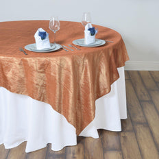 "60""x60"" Square Gold Crinkle Crushed Taffeta Table Overlay"
