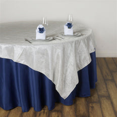 "60""x60"" Square Ivory Crinkle Crushed Taffeta Table Overlay"